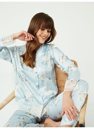 Nbb Saten Pijama Takımı 3382 Mavi
